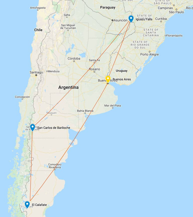 map of argentina-itinerary-for 2 weeks
