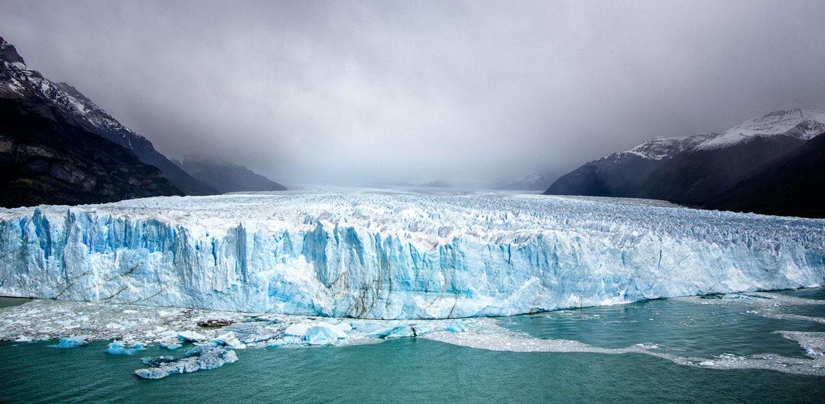 edge of glacier field in glacial water in peritio moreno glacier Argentina