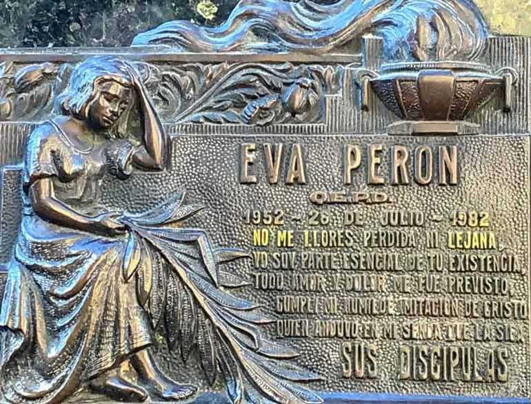 Eva Peron's final resting place, La Recoleta Cemetery