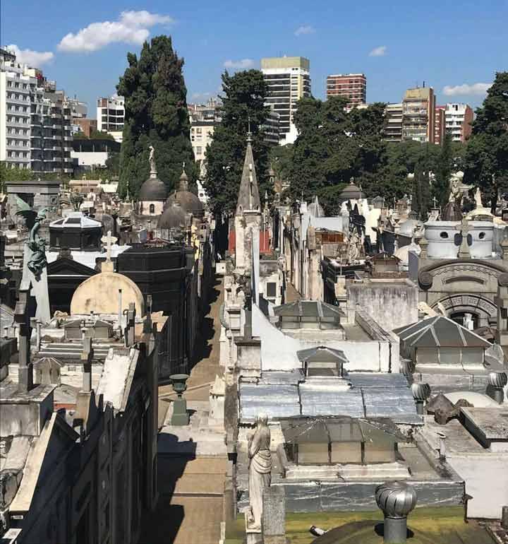 View of La Recoleta Cemetery from the Basílica Nuestra Señora del Pilar