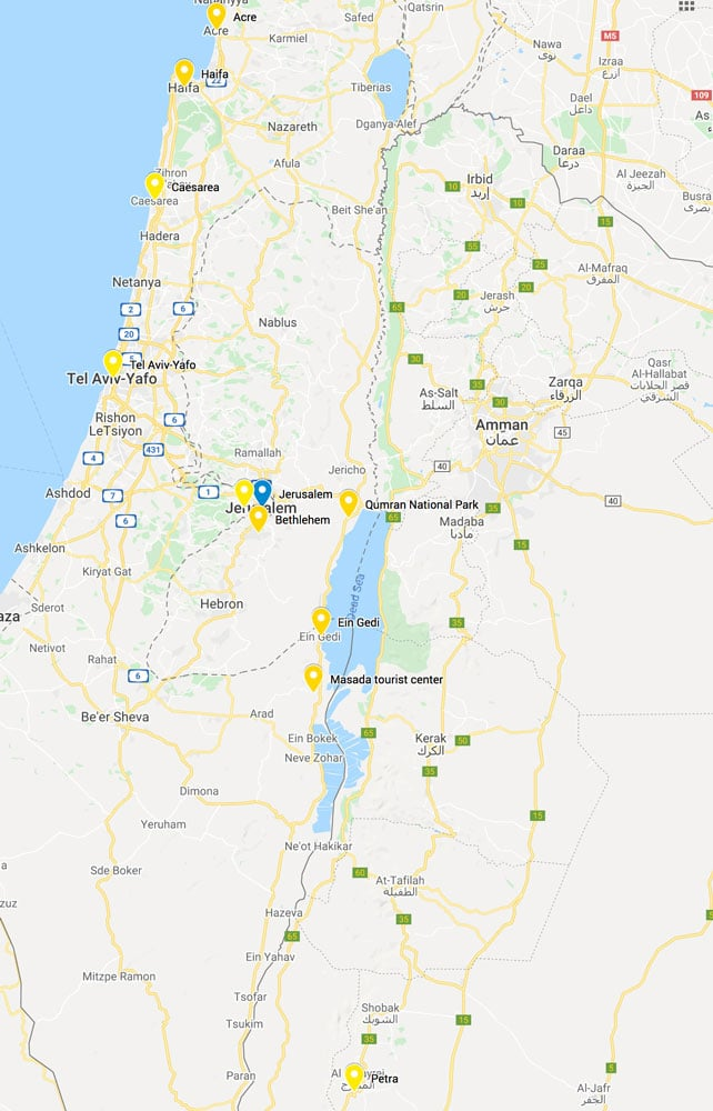 Map of Day Trips from Jerusalem