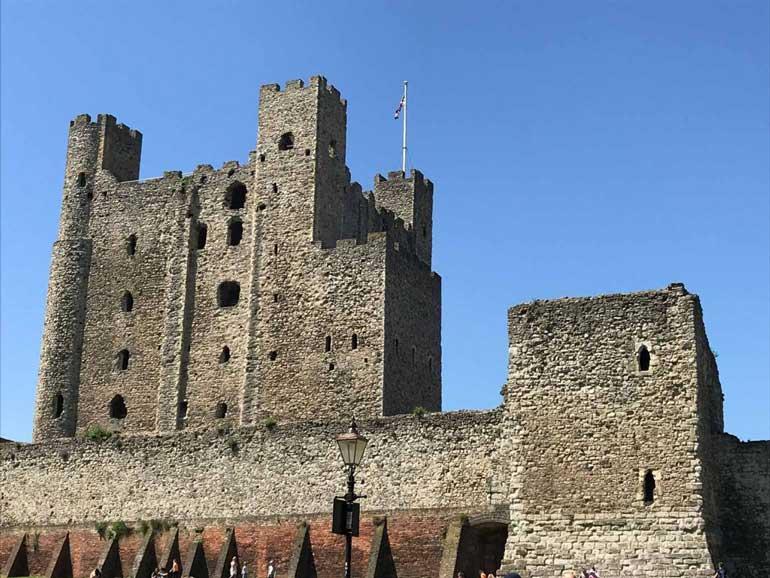 rochester castle kent under deep blue sky