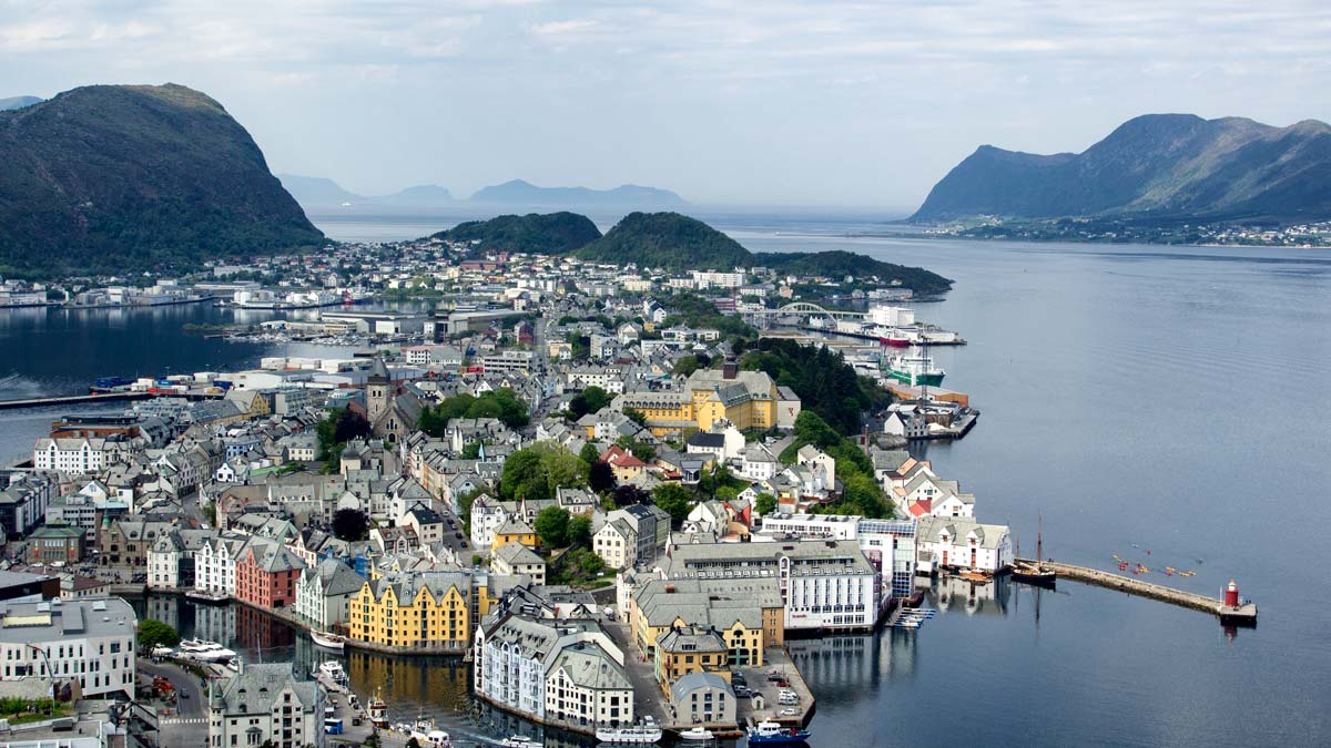 panoramic view town of alesund in norwegian fjords surrounded by water