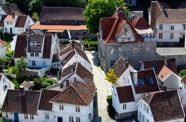 rooftops of wooden houses in gamle stavanger