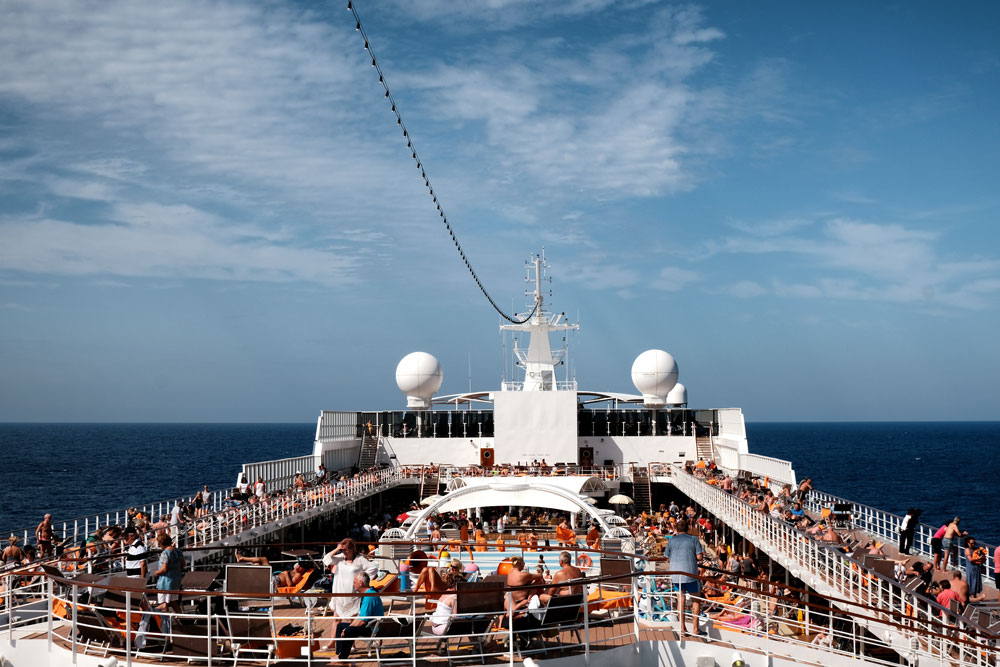 deck of cruise ship on the ocean