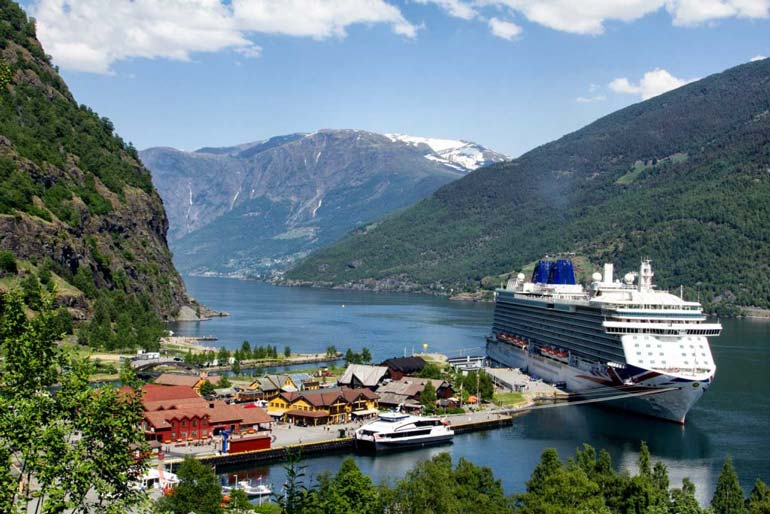 cruise ship berthed at flam norway
