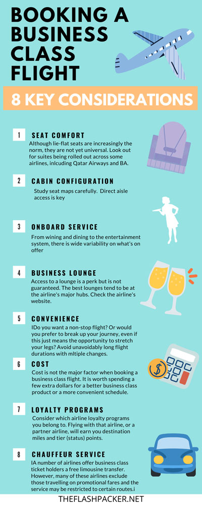 infographic of key factors for choosing a business class flight