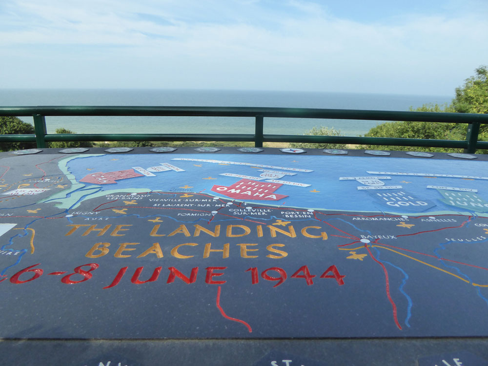 Board depicting the D-Day landing beaches, overlooking Omaha Beach