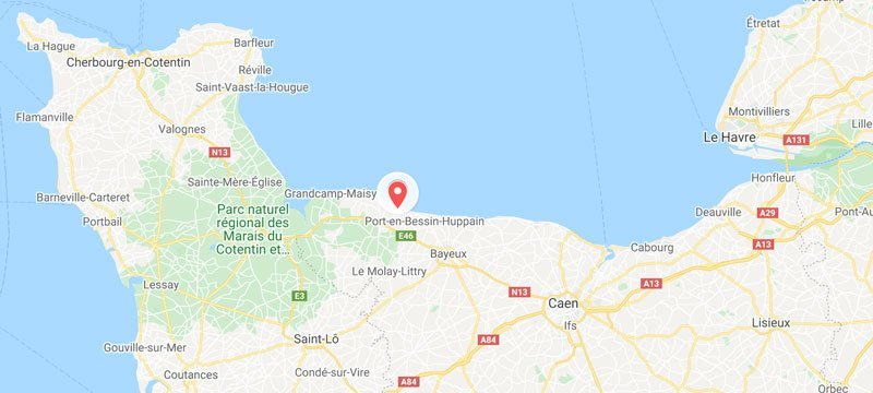 map showing location of american war cemetery in normandy france