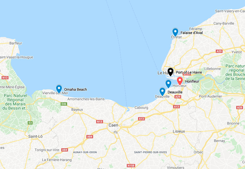 map of places that you visit as day trips from honfleur on a weekend in normandy