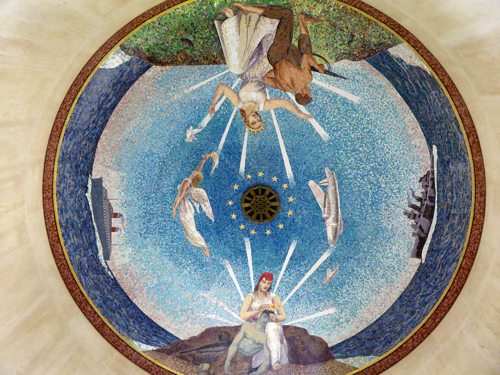 mosaic on ceiling showing angels and boats