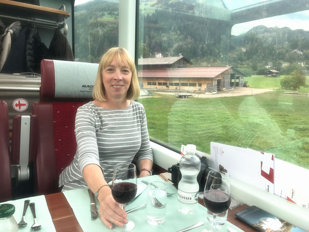 Dining onboard The Glacier Express