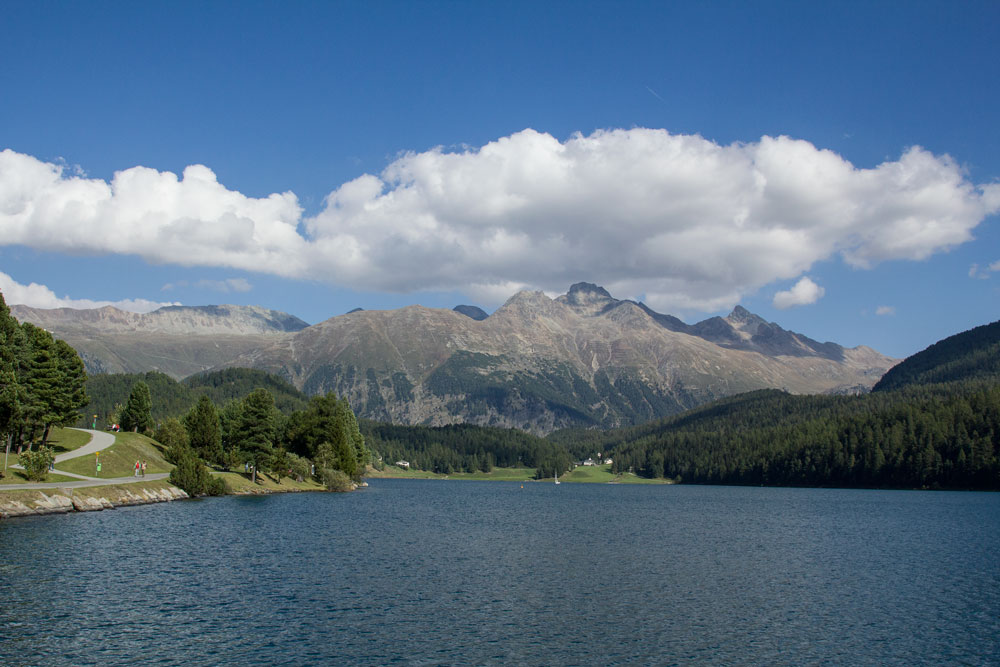 lakeside of st moritz switzerland