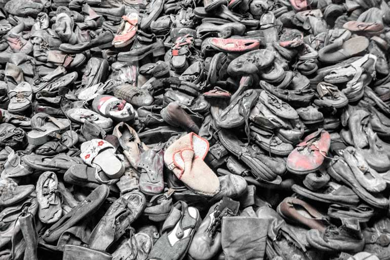 pile of shoes at auschwitz