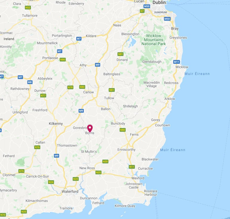 map showing where borris carlow is