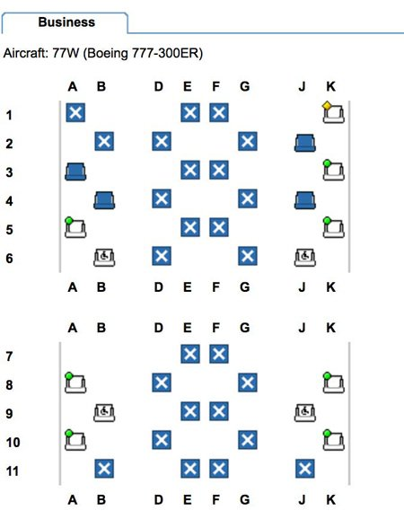 Expert Flyer: Seat Map of QSuite cabin