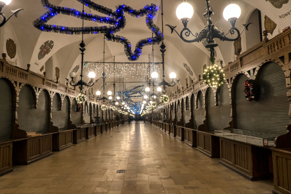 closed indoor market with xmas decorations