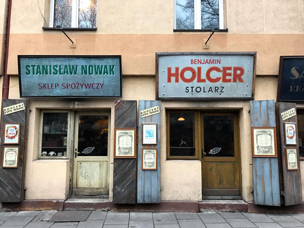two old shopfronts in krakow poland
