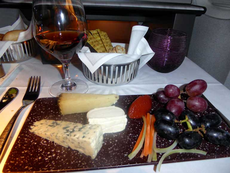 Cheese and port on-board Qatar Airways