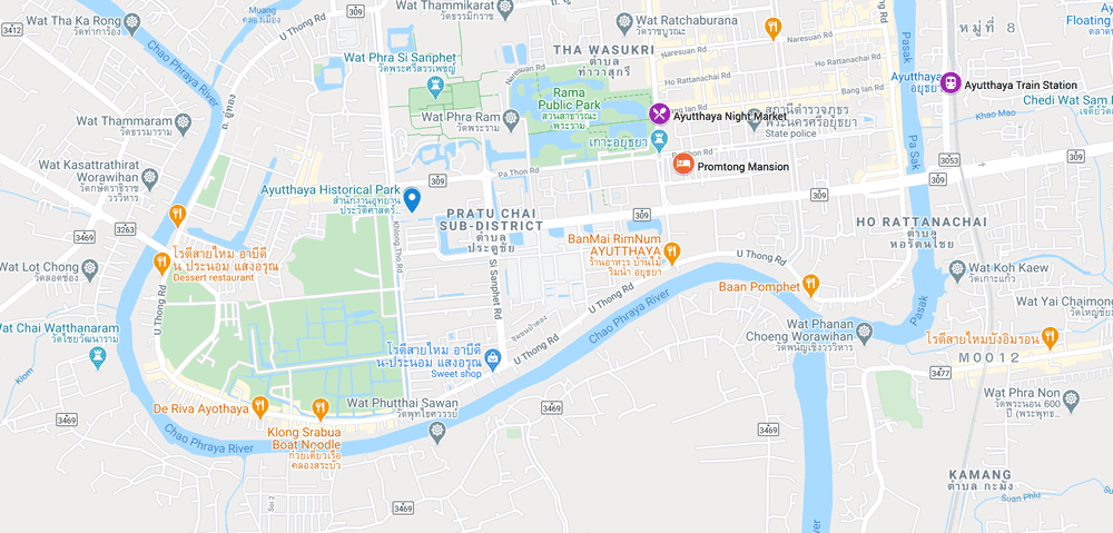 map showing the key attractions for an ayutthaya itinerary
