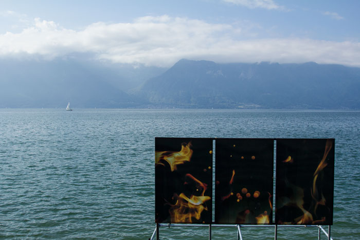 Exhibit by lake from Images Vevey 2018