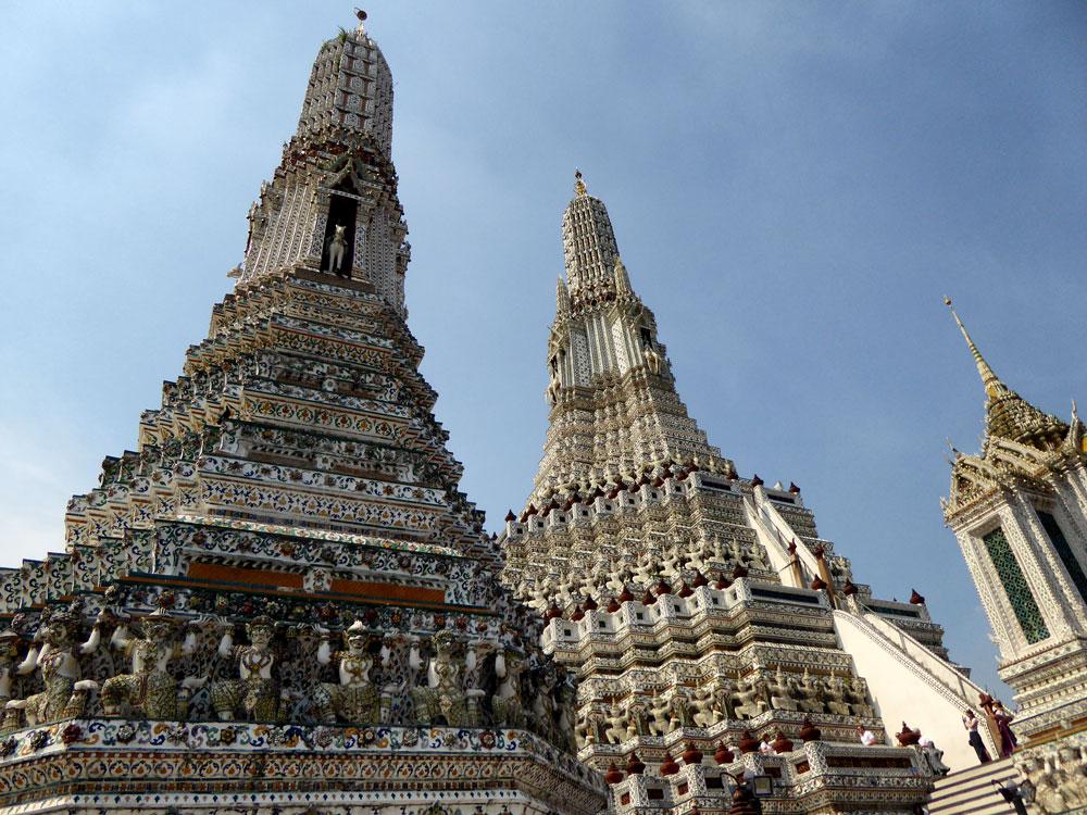magnificent pagodas in wat arun seen on a bangkok temple tour