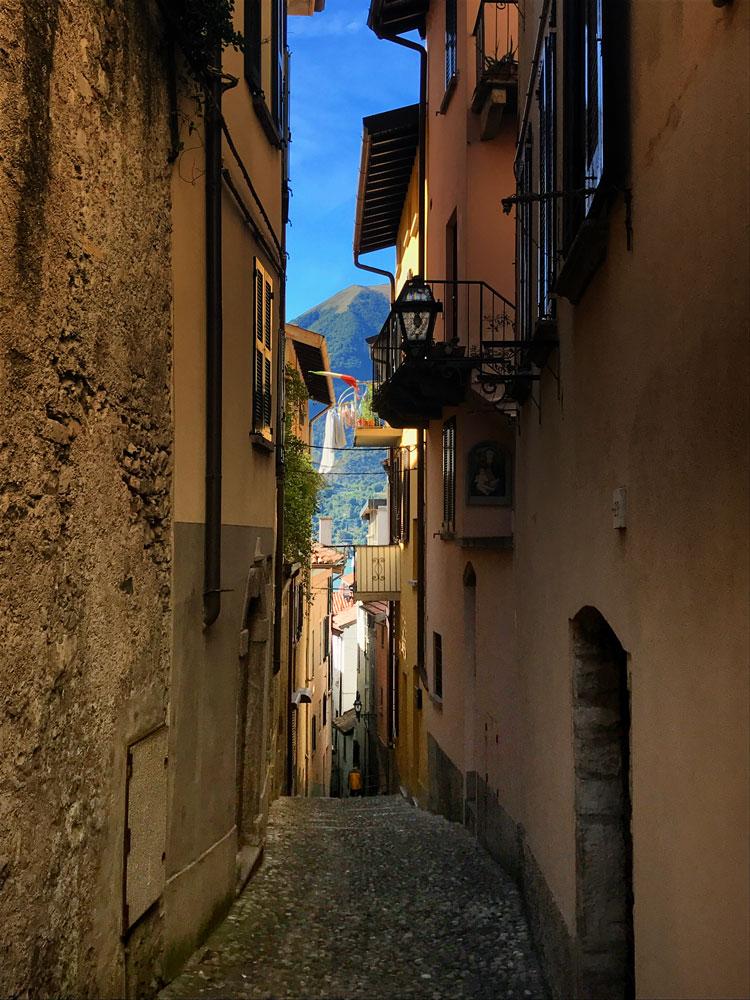 narrow shaded streets with ochre buildings