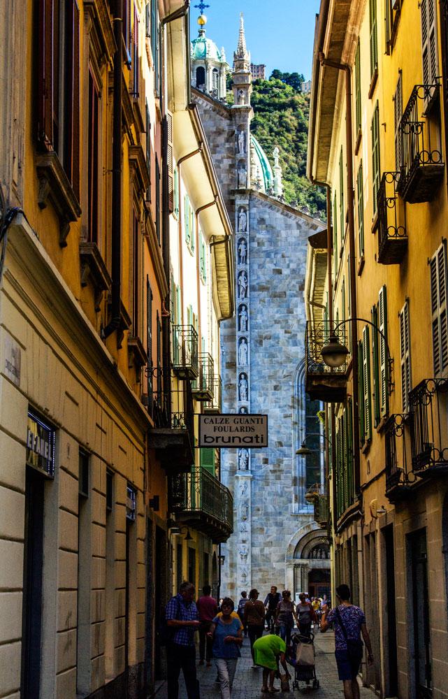 narrow shaded street in italian city