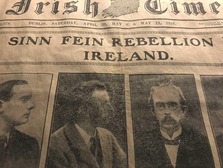 newspaper report of easter-rising-1916