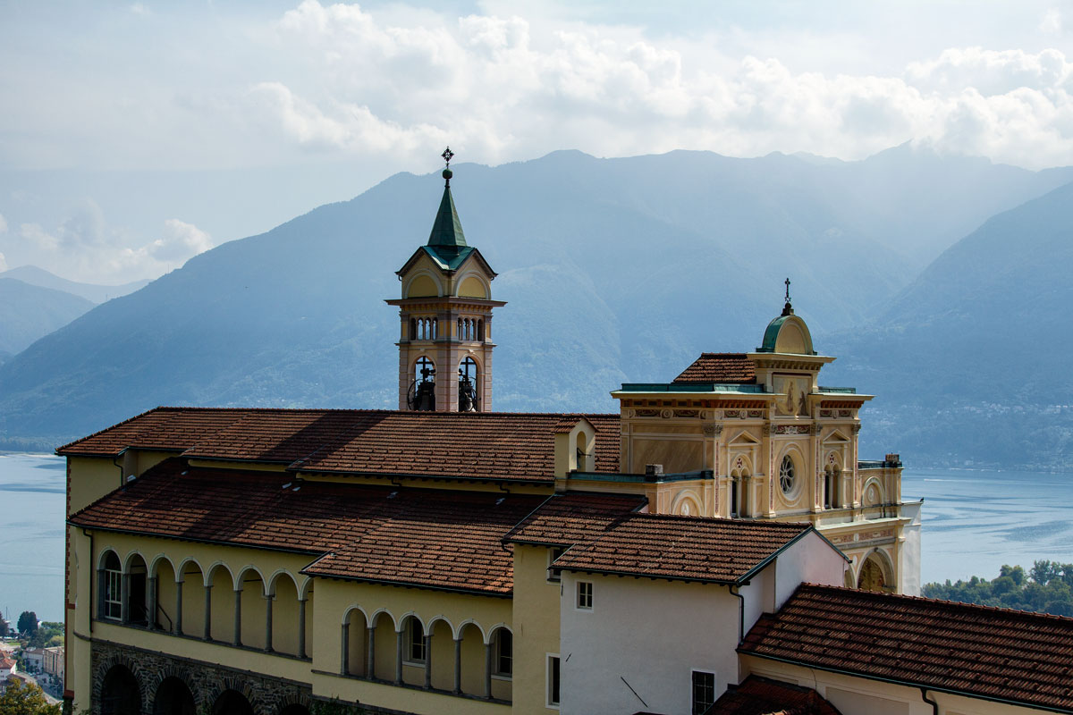 church overlooking lake and mountains seen during 4 days in locarno