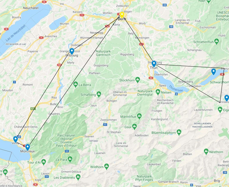 Map of day trips from Bern