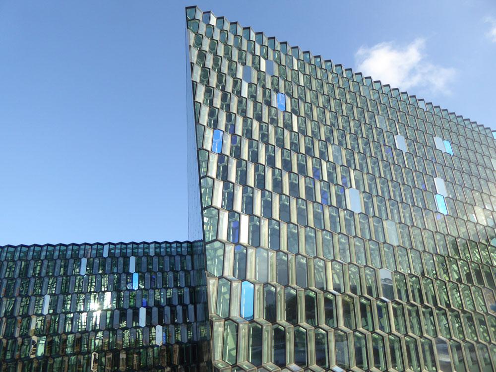 geometric shape of glass amd steel building of harpa in reykjavik
