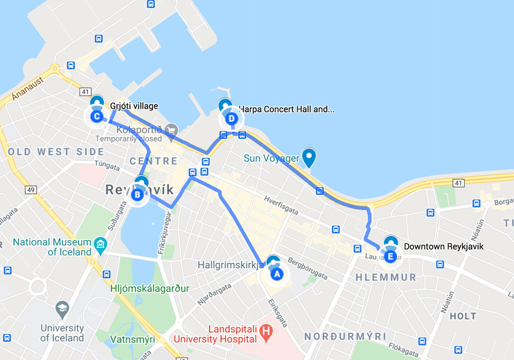 map of the best things to see in reykjavik in one day