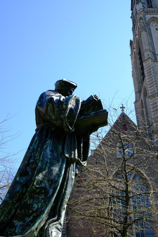 Erasmus Statue & St Lawrence Church, Rotterdam