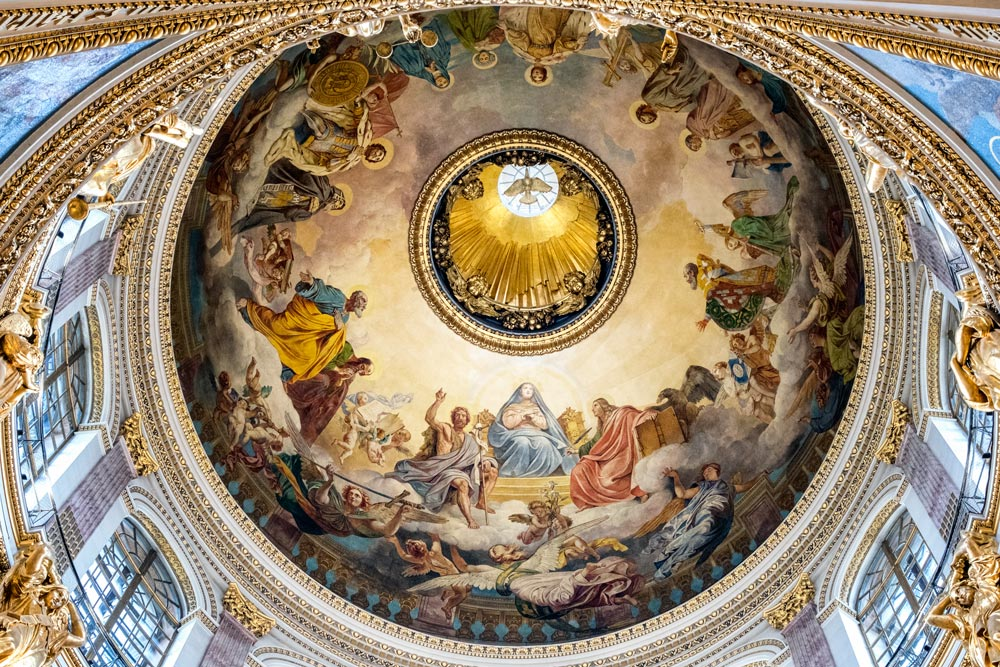mosaics on dome of St Isaac Cathedral in st petersburg