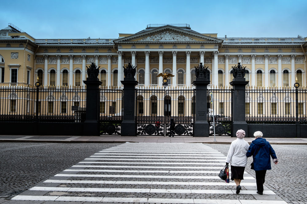 two women crossing the road seen whilst visiting st petersburg on a cruise