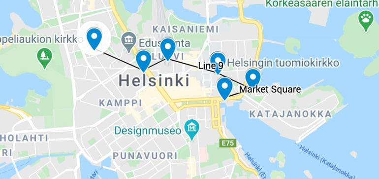 maps showing highlights to see in helsinki in one day