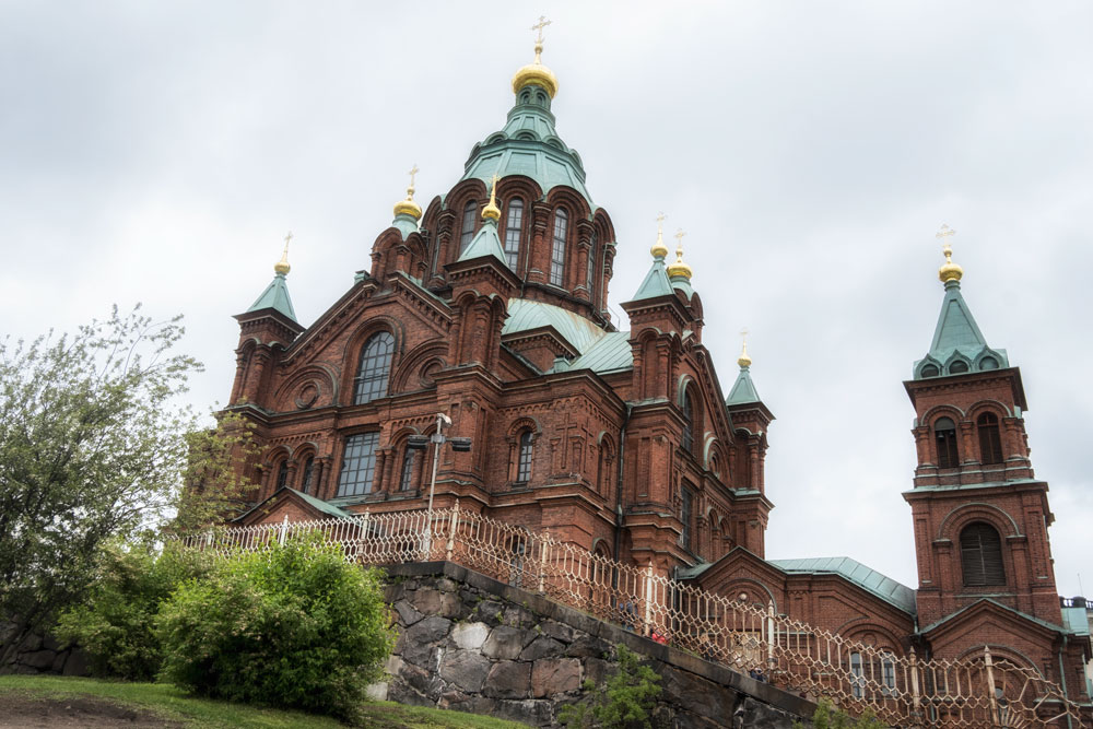 exterior of Uspenskin Cathedral seen during one day in helsinki