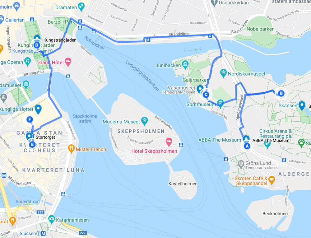 map with things to see in Stockholm in one day