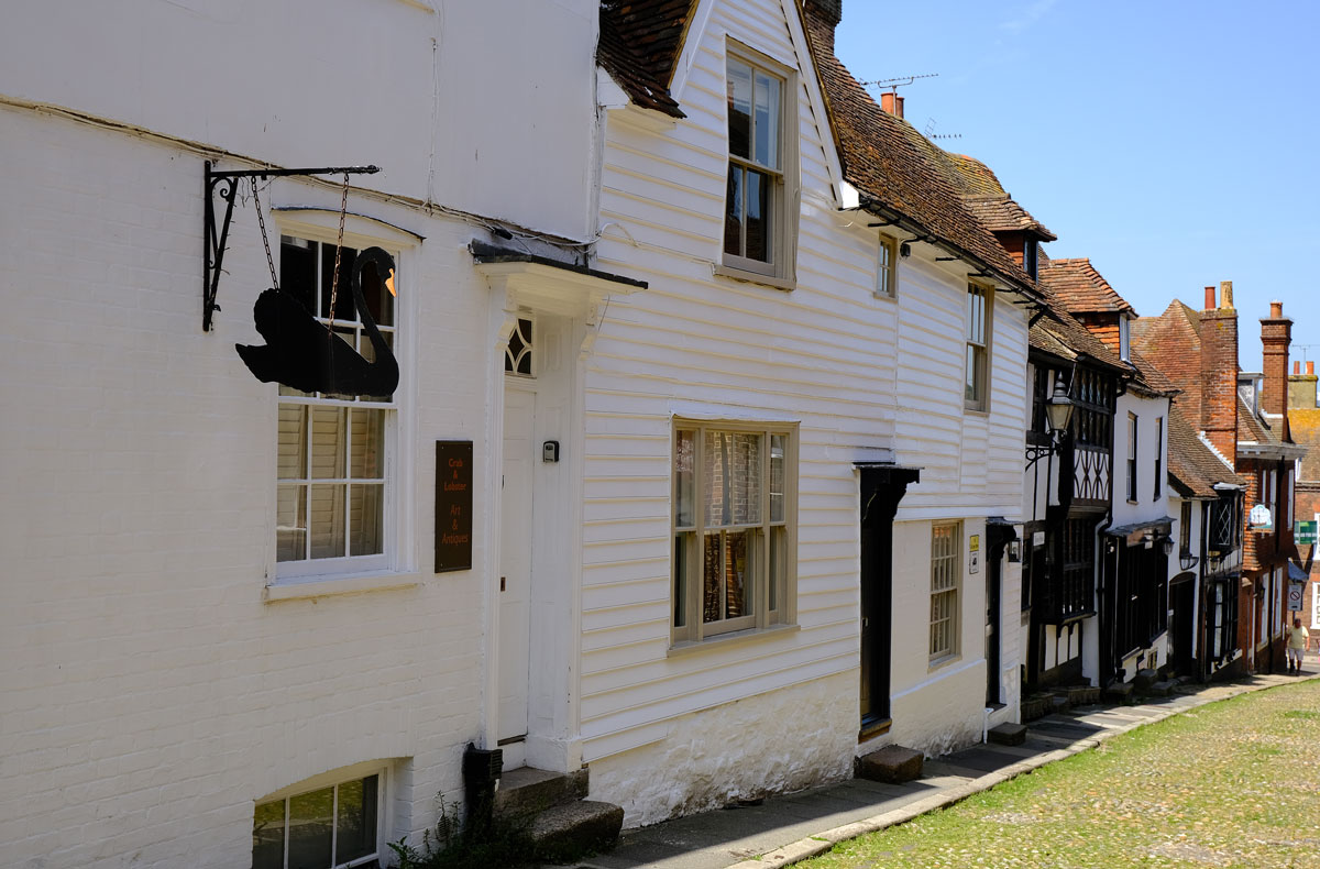 half timbered houses on street in rye