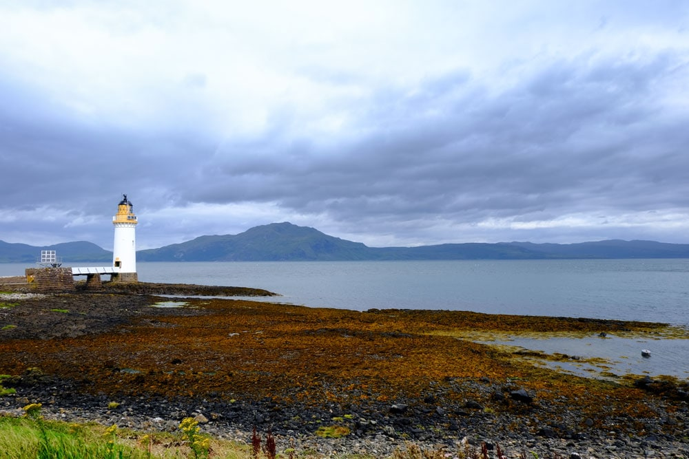 lighthouse on mull looking our across bay