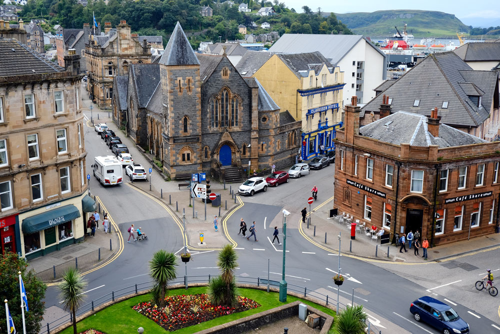 aerial view of streets in oban town centres