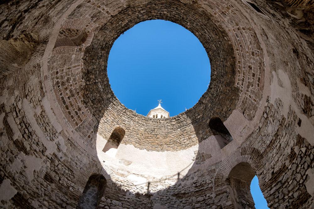 blue sky throughvestibule of Diocletian's Palace, Split