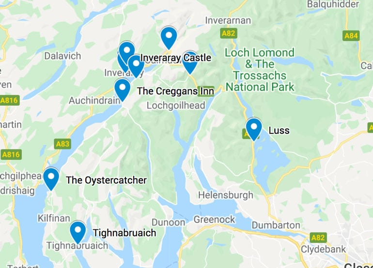 map of the best things to do in inveraray scotland