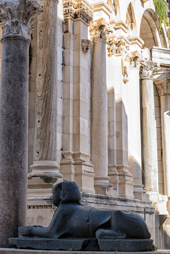 The sphinx in the Peristyle at Diocletian's Palace, Split
