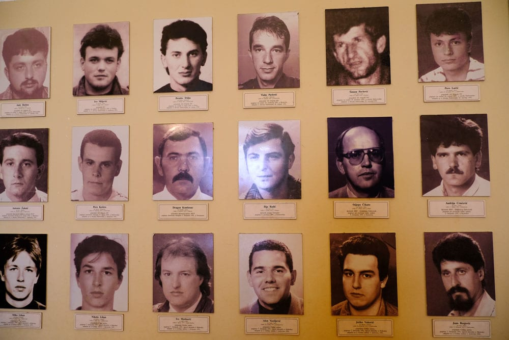 display board of photos of men who perished in the war in dubrovnik