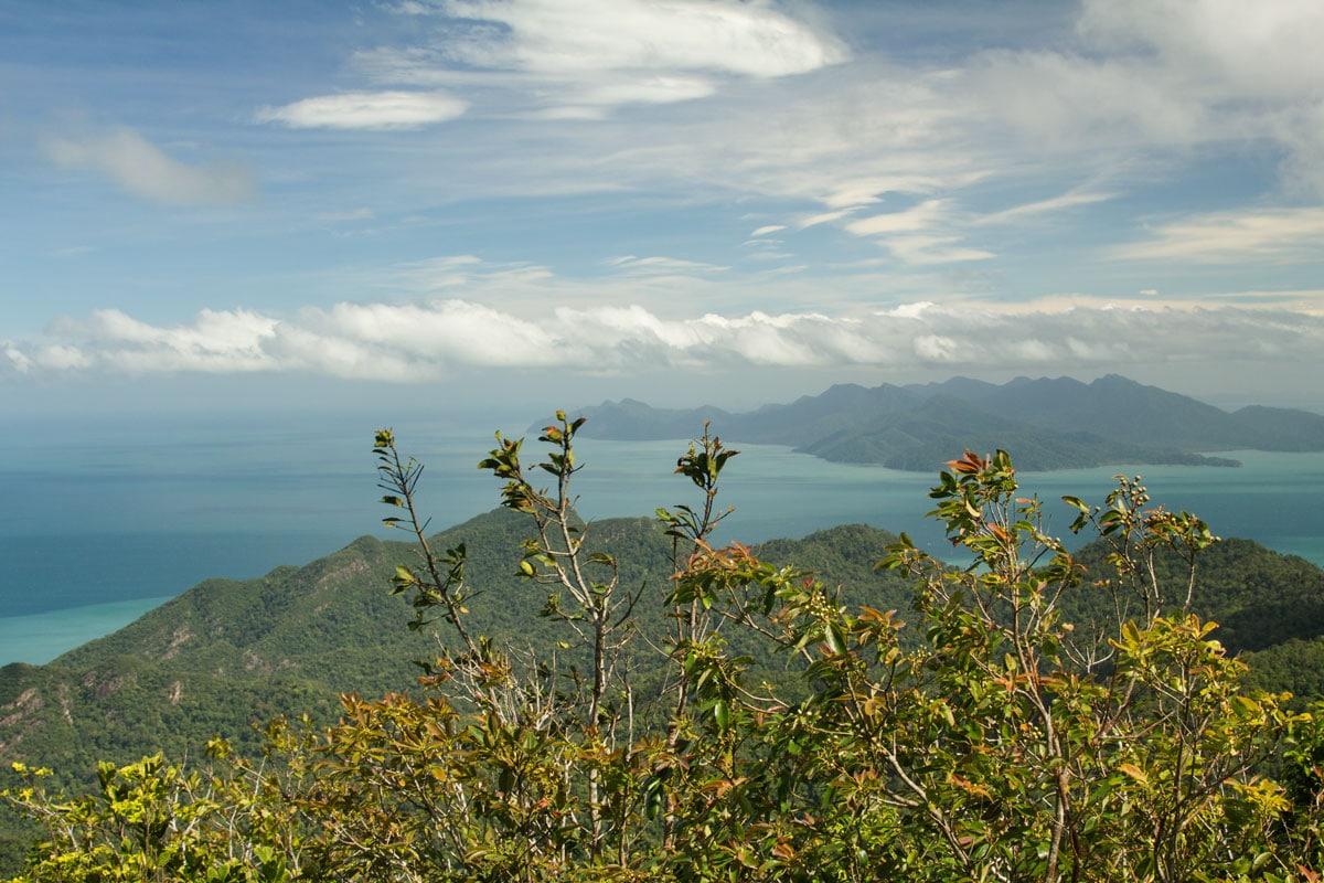 mountain overlooking sea and islands on langkawi malaysia