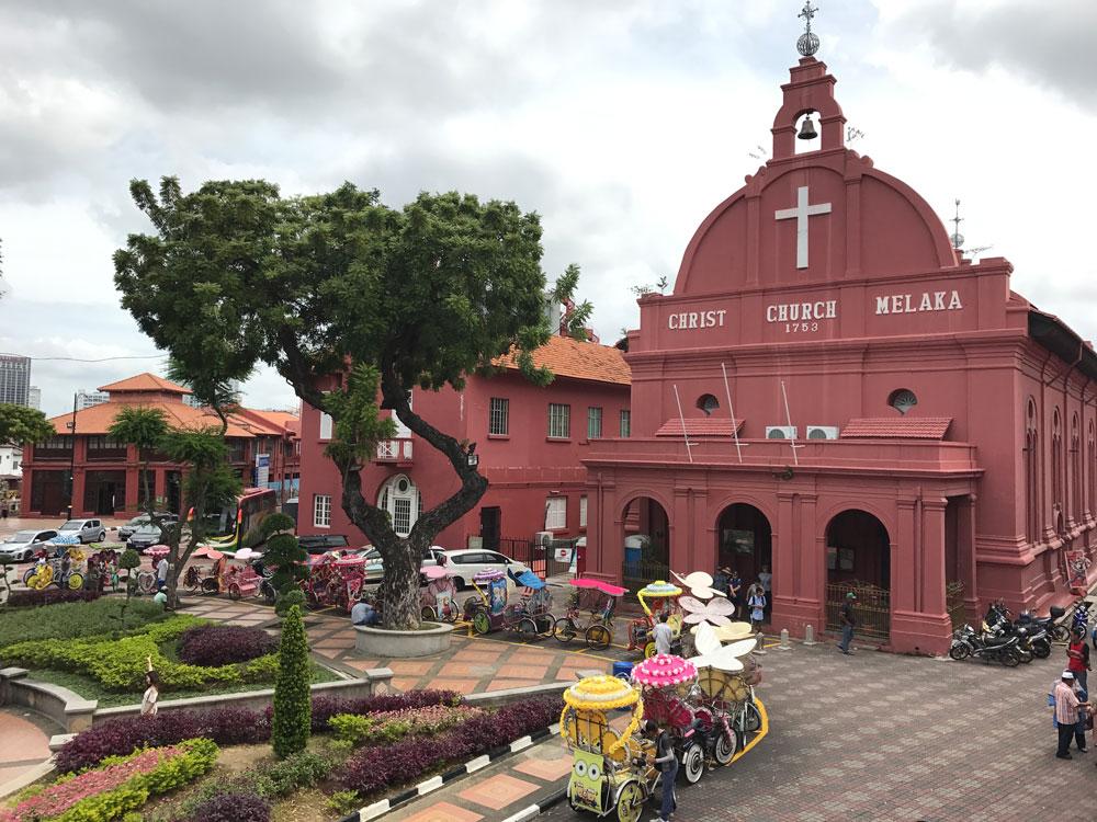 pink church building in melaka malaysia