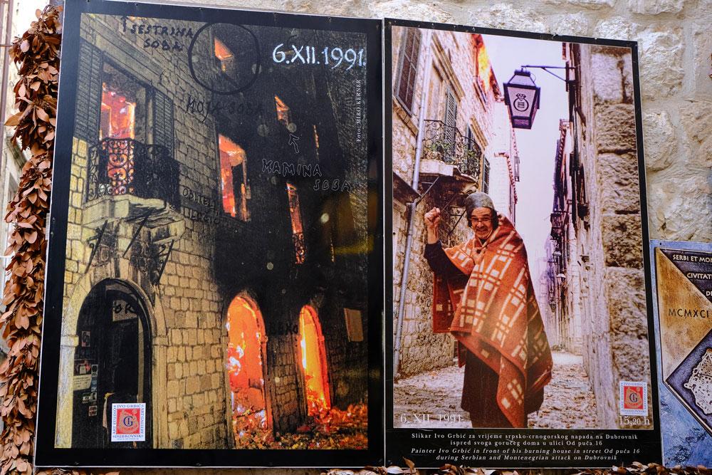 photographs displayed on billboard at War Corner, Dubrovnik