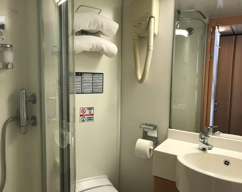 Bathroom in balcony cabin on MSC Sinfonia